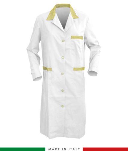 Camice da donna bianco e rosa a manica lunga