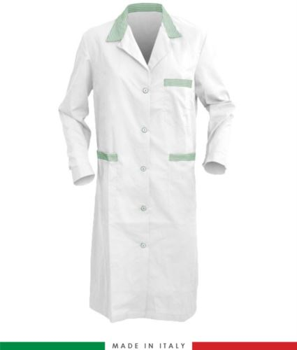 Camice da donna made in italy manica lunga bianco e verde