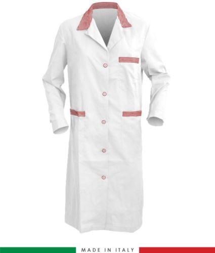 Camice da donna a manica lunga made in italy bianco/rosso