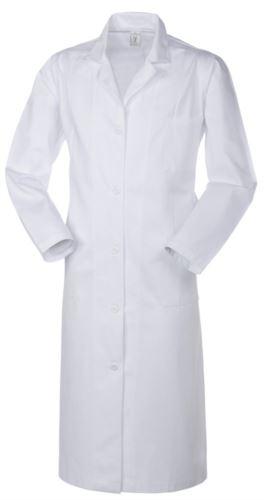 Camice donna medico, chiusura con bottoni, collo aperto, due tasche e un taschino applicati, spacco posteriore, cuciture in filo, colore bianco