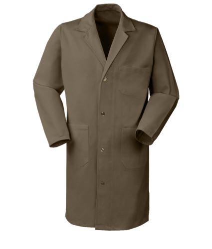 Camice donna, manica lunga, chiusura bottoni, taschino applicato, due tasche laterali, polsini con elastico, colore kaki, certificato CE