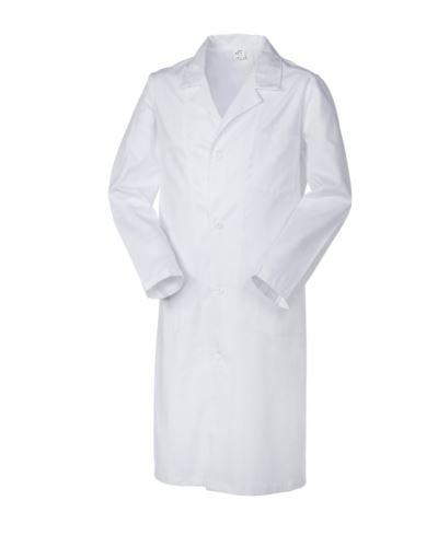 Camice uomo medico, chiusura con bottoni, collo aperto, due tasche e un taschino applicati, spacco posteriore, cuciture in filo, colore bianco