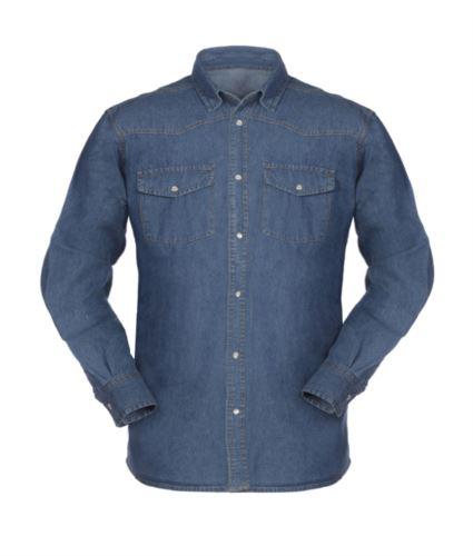 Camicia in jeans a maniche lunghe da lavoro 100% cotone