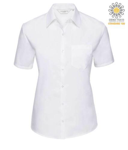 Camicia da donna a manica corta colore bianco 100% cotone con taschino