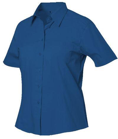 Camicia da donna a manica corta colore blu con taschino