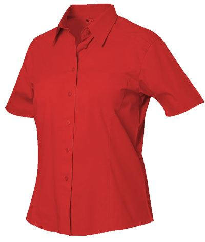 Camicia da divisa a manica corta colore rosso 100% cotone