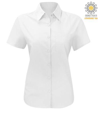 Camicia da donna a manica corta da lavoro azzurro chiaro