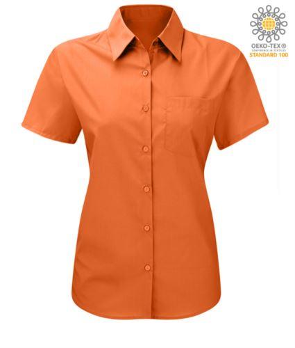 Camicia da lavoro da donna a manica corta colore arancio