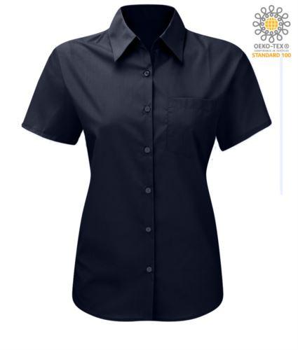 Camicia da donna a manica corta sfiancata colore blu poliestere e cotone