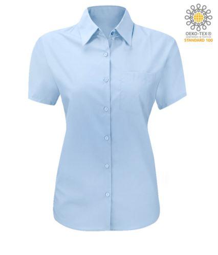 Camicia da donna a manica corta colore azzurro