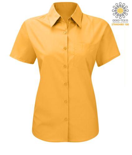 Camicia da donna a manica corta colore giallo