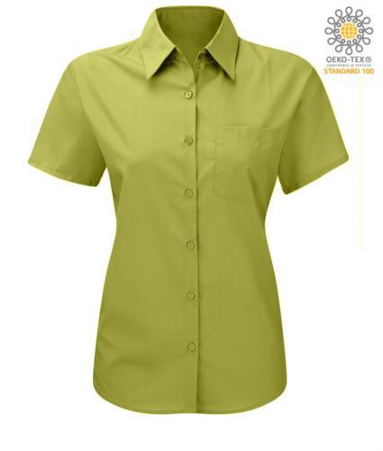 Camicia da donna colore lilla a manica corta poliestere e cotone