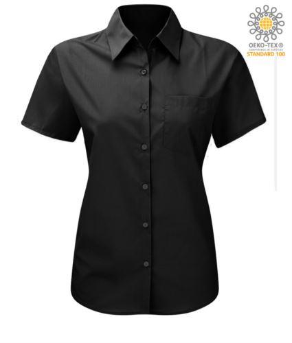 Camicia da donna a manica corta colore nero in cotone e poliestere
