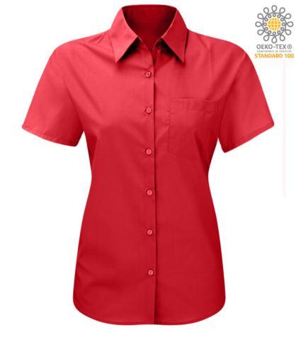Camicia rossa da donna  a manica corta sfiancata per uso lavorativo