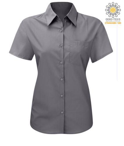 Camicia a manica corta colore silver da donna in poliestere e cotone