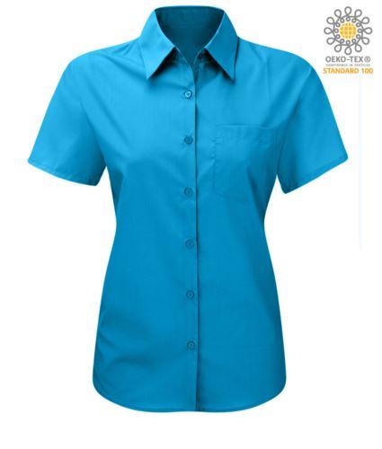 Camicia color turchese a manica corta per uso lavorativo