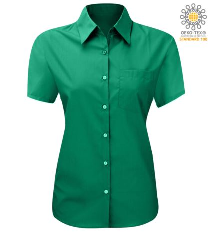 Camicia da lavoro modello da donna manica corta colore verde