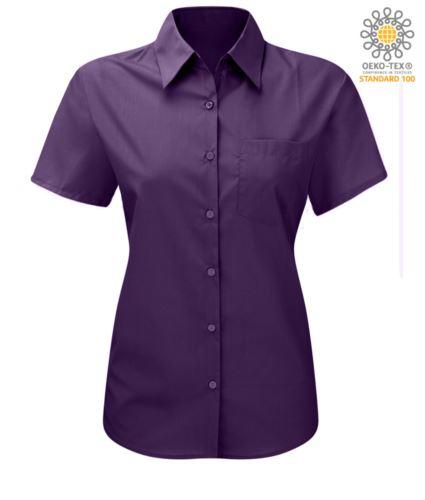 Camicia da donna a manica corta colore viola poliestere e cotone