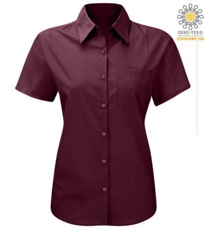 Camicia a manica corta in poliestere e cotone colore viola