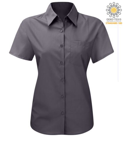 Camicia da donna a manica corta da lavoro colore grigio scuro