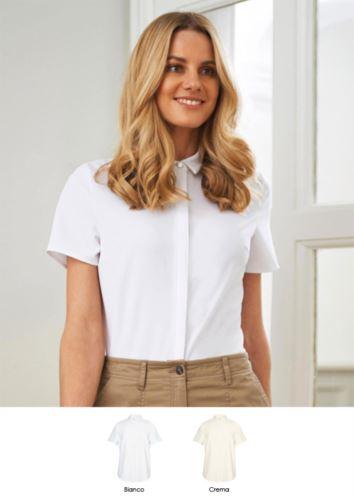Camicia elegante in poliestere ed elastane. Abbigliamento per receptionist, hostess, hotellerie. Ottieni un preventivo gratuito.