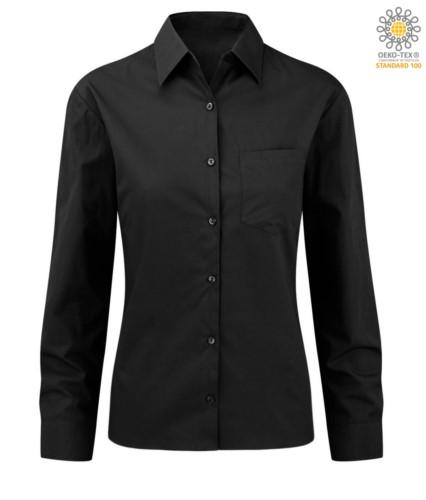 Camicia da donna a manica lunga colore nero 100% in cotone