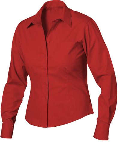 Camicia da donna a manica lunga 100% cotone colore rosso