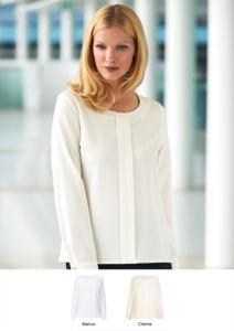Camicia in poliestere ed elastane, con cerniera posteriore, disponibile in bianco e crema. Ideale per receptionist, hostess, hotellerie.
