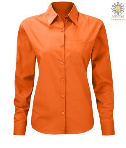 Camicia da donna a manica lunga per divisa da lavoro colore arancione
