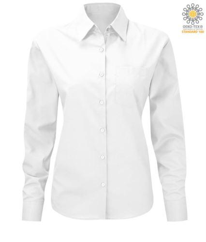 Camicia bianca da divisa a manica lunga da donna poliestere e cotone