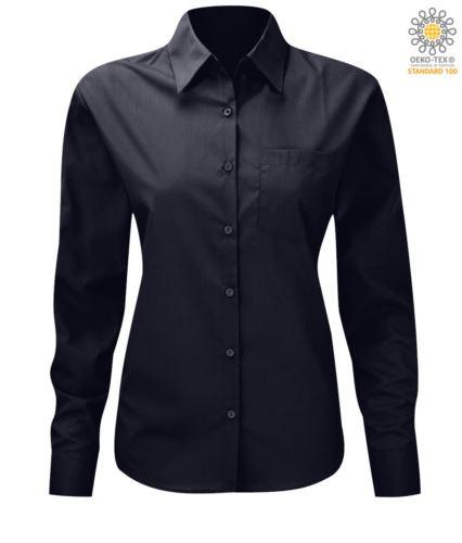 Camicia da donna da divisa colore blu scuro a manica lunga