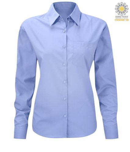 Camicia da donna per divisa elegante colore azzurro a maniche lunghe