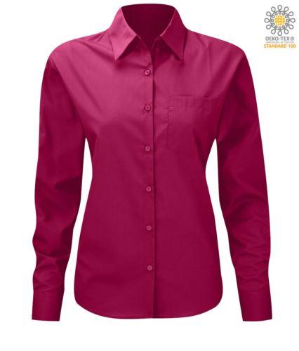 Camicia da lavoro a manica lunga colore fucsia da donna