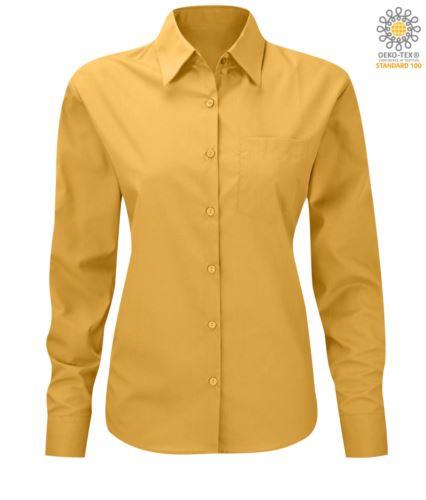 Camicia da donna a manica lunga per divisa da lavoro colore giallo