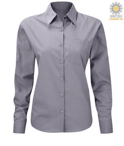 Camicia elegante da donna da divisa colore grigio chiaro a maniche lunghe