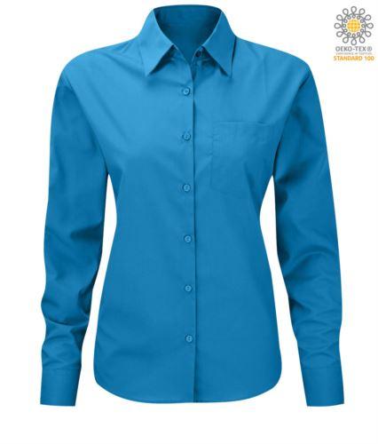 Camicia da donna colore turchese poliestere e cotone a maniche lunghe