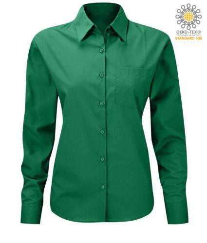 Camicia da donna per divisa elegante a manica lunga verde