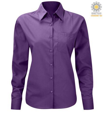 Camicia da donna a manica lunga poliestere e cotone colore viola