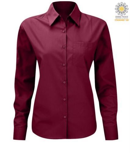 Camicia per divisa elegante manica lunga da donna color vinaccia