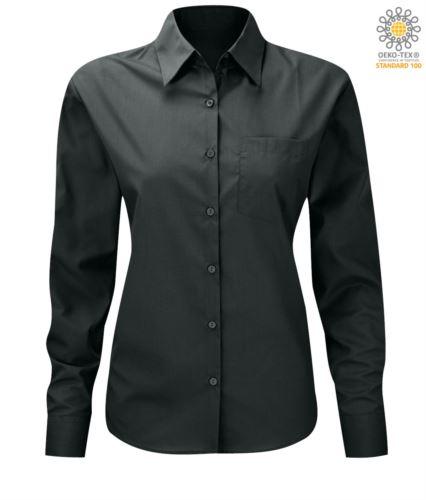 Camicia color grigio scuro a manica lunga da donna
