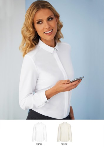 Camicia da donna elegante in poliestere ed elastane per divisa elegante. Ideale per receptionist, hostess, hotellerie. Ottieni un preventivo.