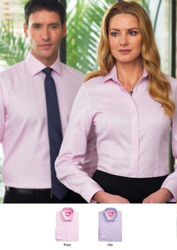 Camicia 100% cotone con colletto button up. Disponibile nei colori rosa e lilla. Vendita all'ingrosso. Ottieni un preventivo gratuito.