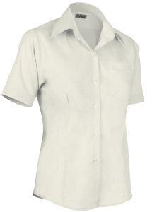 Camicia donna manica corta, con taschino, modello slim fit, colore avorio