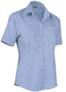 Camicia donna manica corta, con taschino, modello slim fit, colore celeste