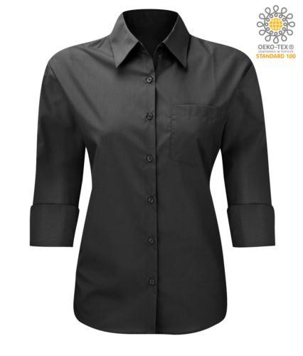 Camicia da divisa da lavoro maniche a 3/4 colore nero