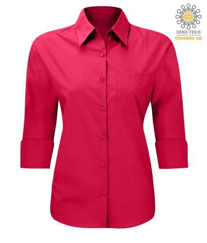 Camicia da divisa a maniche a 3/4 colore rosso tessuto in cotone e poliestere