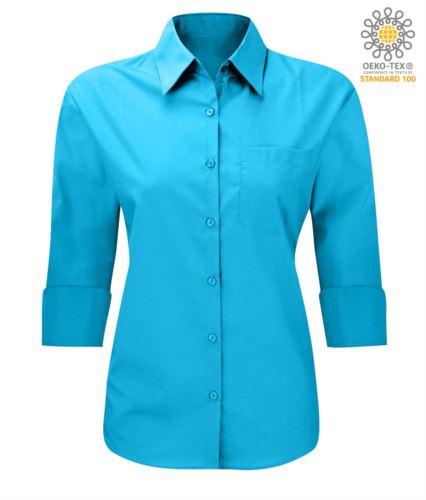 Camicia per uso professionale colore turchese maniche a 3/4 poliestere e cotone