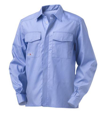 Camicia a manica lunga trivalente multipro, due taschini, cuciture in contrasto, colore azzurro, certificata EN 1149-5, EN 13034, EN 11612:2009