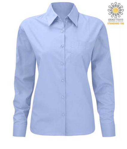 camicia da donna a manica lunga colore blu oxford per divisa elegante