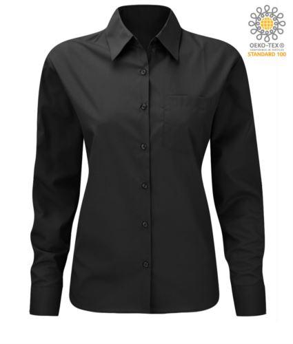 Camicia da donna per divisa elegante colore nero 100% cotone